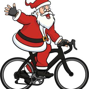 Vector illustration of Santa Claus riding a road bike while waving and saying hello.